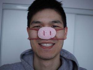 Free Pig Nose Warmer Crochet Pattern 1
